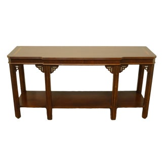 """20th Century Traditional Lane Furniture Altavista Bookmatched Banded Mahogany Mediterranean Style 54"""" Accent Sofa/Console Table For Sale"""