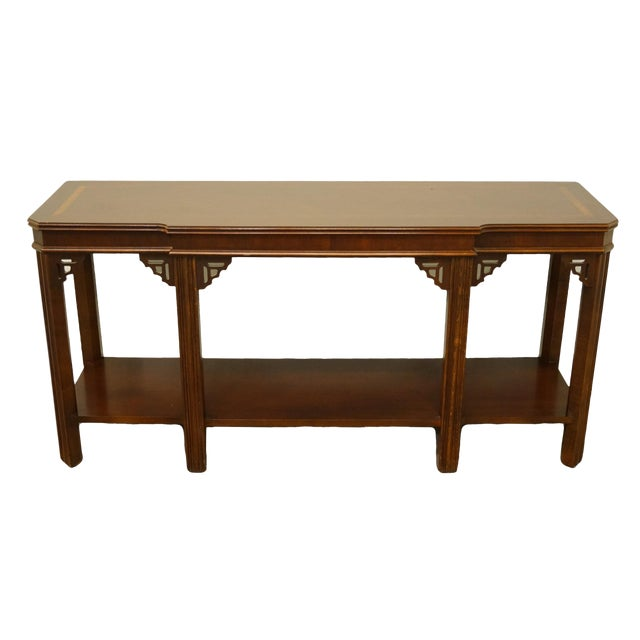 "20th Century Traditional Lane Furniture Altavista Bookmatched Banded Mahogany Mediterranean Style 54"" Accent Sofa/Console Table For Sale"