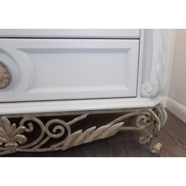 Metal Faux Marble Topped Sideboard With Ornate Iron Base & Greek Key Design For Sale - Image 7 of 8
