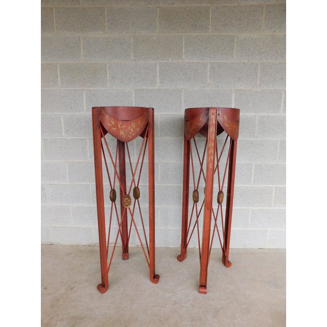 French Directoire Style Paint Decorated Steel Plant Stands - a Pair For Sale - Image 10 of 10