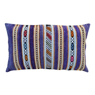 Striped Moroccan Pillow With Purple & Orange For Sale