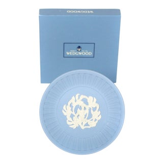 Wedgwood Sky Blue Jasperware English Trinket Tray With Gift Box For Sale