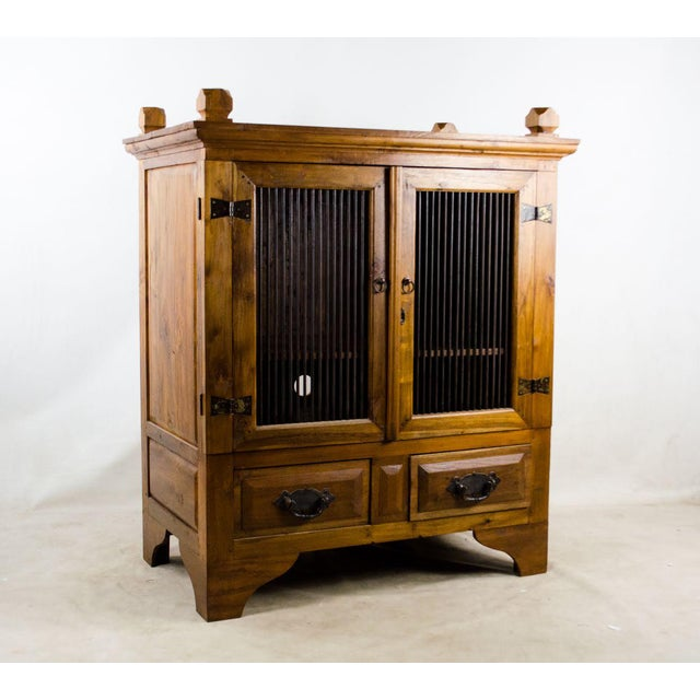 Vintage Indonesian Double Hinged Iron and Teak Cabinet For Sale - Image 13 of 13