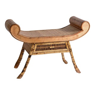 Burnt Bamboo Rattan Scroll Arm Thebes Style Bench For Sale