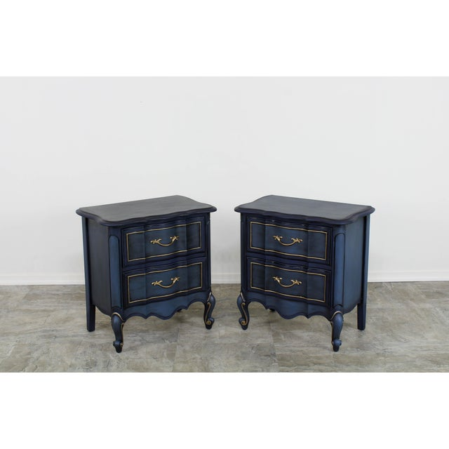 1960s 1960s Blue French Provincial Nightstands - a Pair For Sale - Image 5 of 10