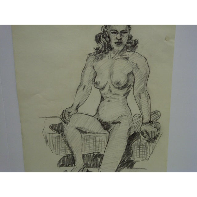 """1956 Mid-Century Modern Original Drawing on Paper, """"Nude With Pretty Shoe"""" by Tom Sturges Jr. For Sale - Image 4 of 5"""