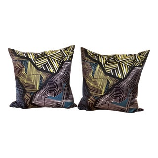 West Elm Geometric Silk Pillows - a Pair