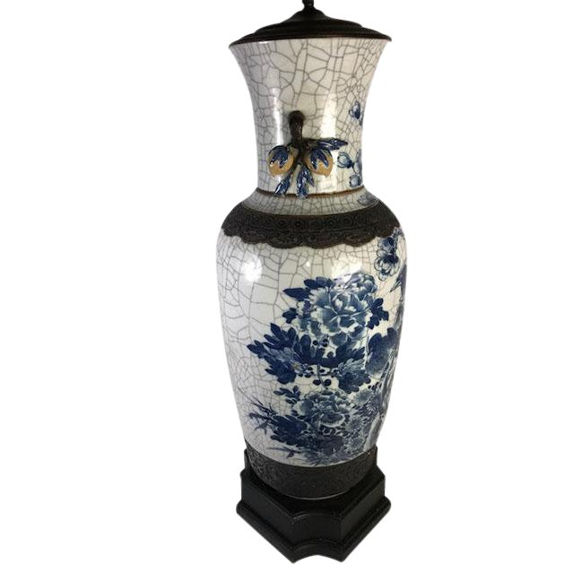19th Century Antique Chinese Crackle Vase as a Lamp For Sale