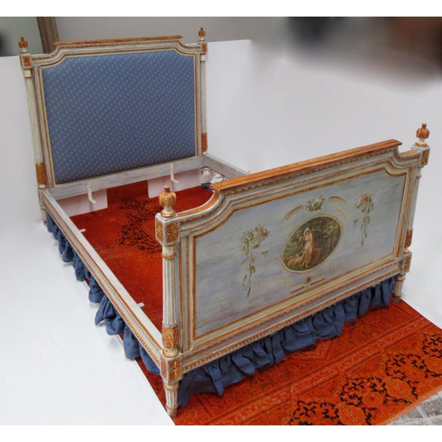 French Vintage 19th. Century French Napoleonic Parcel Gilt Painted Full Size Bedframe For Sale - Image 3 of 13
