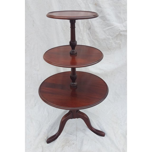 1990s Hickory Chair Co. 3 Tiered Mahogany Dumbwaiter/Butler Table Stand For Sale - Image 4 of 11