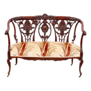 Early 20th Century Vintage Ornate George III Style Mahogany Settee For Sale