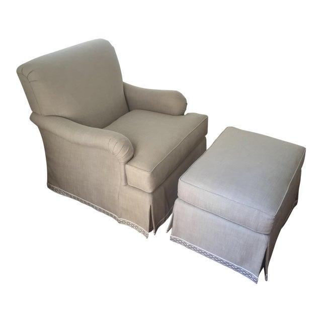 Classic Patricia Edwards Custom Chair & Ottoman Set - Image 1 of 8