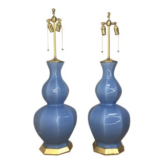 Light Blue Lamps by Christoper Spitzmiller - a Pair For Sale