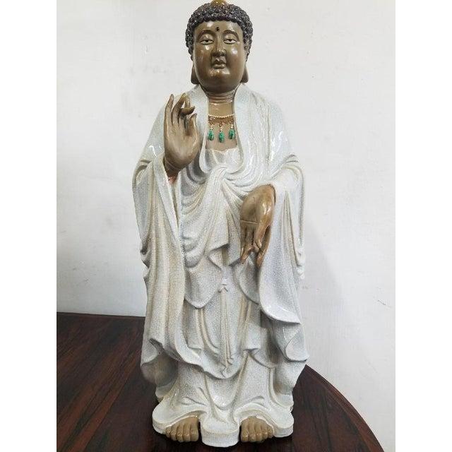 Glazed Ceramic Buddha Statue - Image 2 of 9