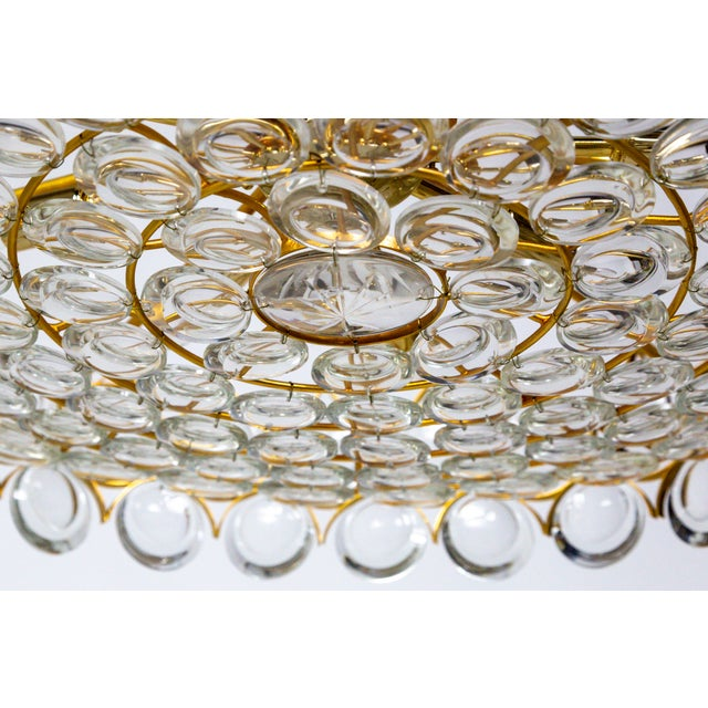 Large Palwa Circular Gilt Brass and Optical Lens Crystal Chandelier (2 Available) For Sale - Image 10 of 11