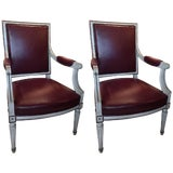 Image of Pair of Louis XVI Style Painted Fauteuils or Armchairs, 19th Century For Sale