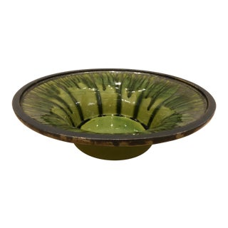Boho Chic Drip Glaze Large Decorative Bowl For Sale