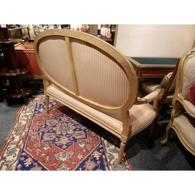 Louis XVI Style Limed Wood Settee or Loveseat, Late 19th or Early 20th Century For Sale - Image 9 of 11