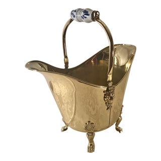 20th Century Danish Modern Brass Coal Bucket With Delft Blue Handle For Sale