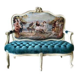 Custom Made Teal Tufted Louis XVI Settee For Sale