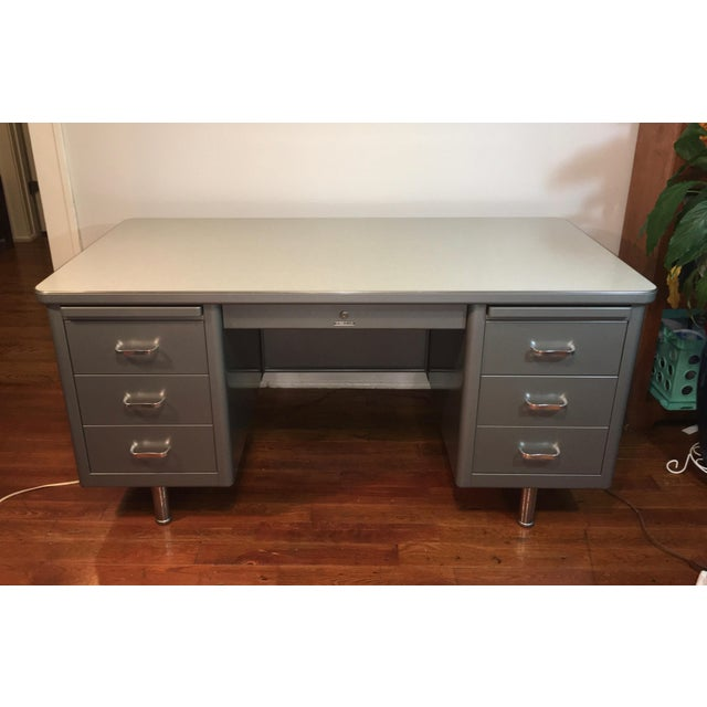 Vintage Steelcase industrial tanker desk. Unrestored and all original. These desks are usually pretty beat up. This one is...