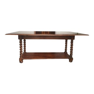 Traditional Farm Table With Barley-Twist Legs For Sale