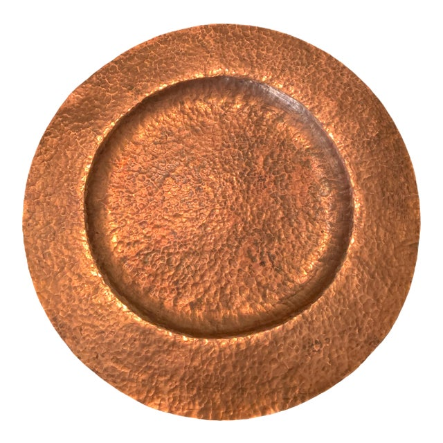 Antique Hand Hammered Copper Charger For Sale