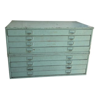 Early 20th Century Antique Wood and Metal Map Chest - 3 Pieces For Sale