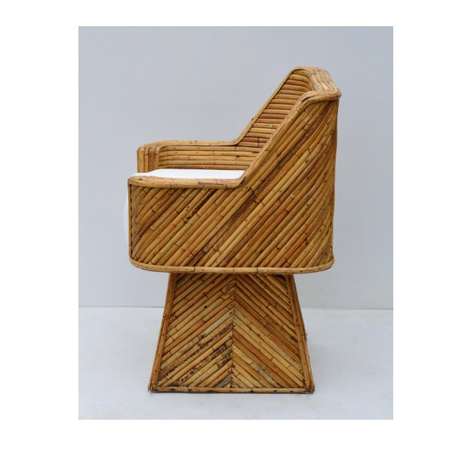 1970s Rare Bamboo Swivel Chairs in the Manner of Crespi For Sale - Image 5 of 11