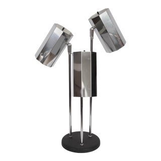 1960s Koch & Lowy Desk Lamp with Triple Chrome Shades For Sale