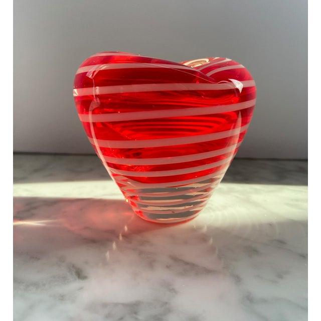 Mid-Century Modern 1960s Murano Red and White Striped Heart Vase For Sale - Image 3 of 7