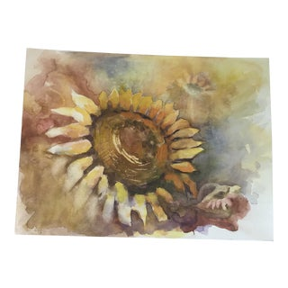 Original Unframed Sunflower Watercolor Study Painting For Sale