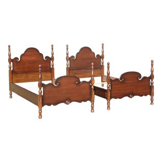 Vintage Pair Mahogany Twin Poster Beds French Country Style Single Bed Frames For Sale