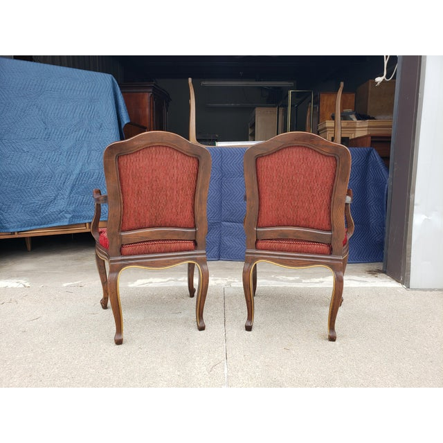 Brick Red Vintage Henredon French Regency Armchairs- a Pair For Sale - Image 8 of 11