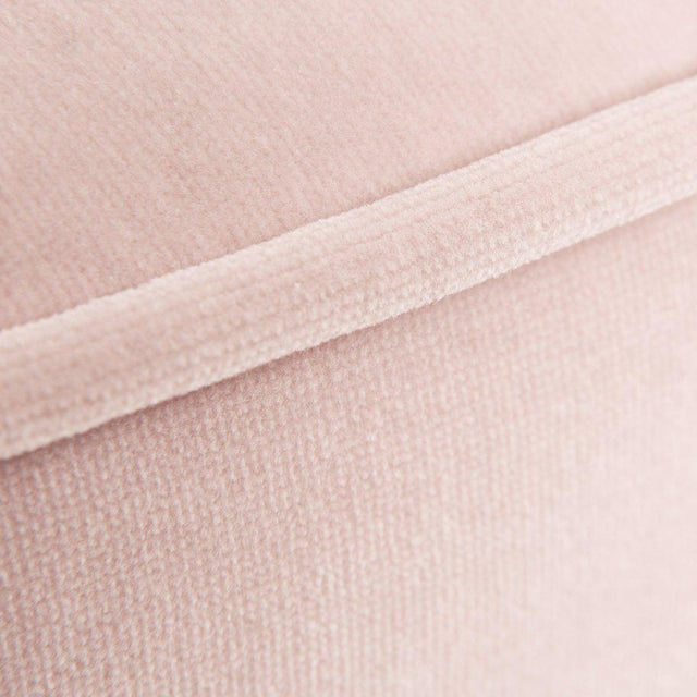 Contemporary Chubby Ottoman in Blush Pink Velvet For Sale - Image 3 of 4