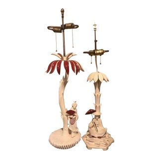 1960s Vintage Hollywood Regency Chinoiserie Style Lacquered Lamps - a Pair For Sale