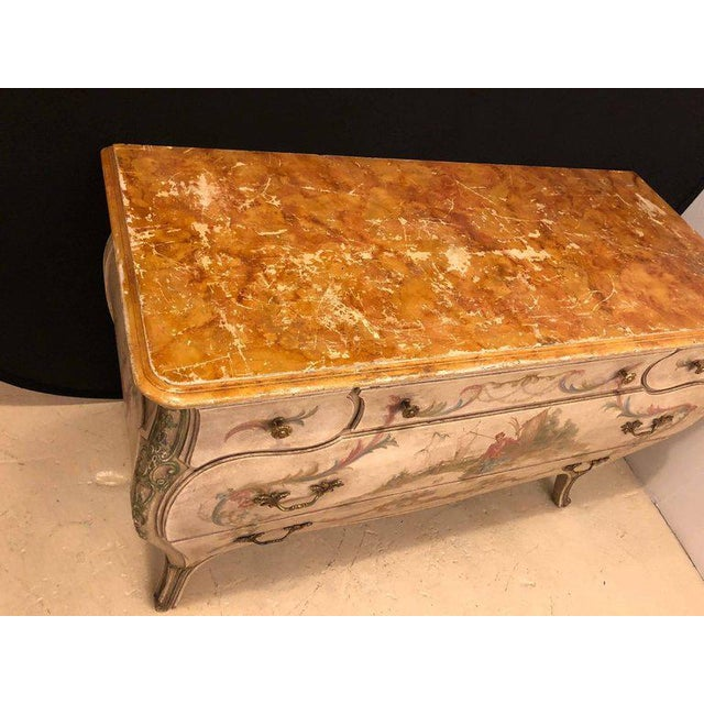 Chinoiserie Venetian Scenic Bombe Chinoiserie Painted Commode with a Faux Marble Top For Sale - Image 3 of 11