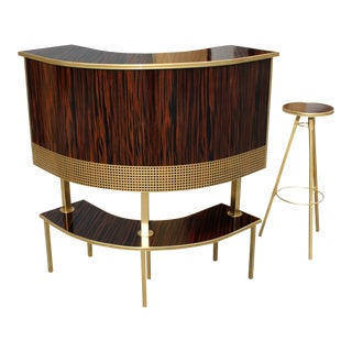 1940s Art Deco Exotic Macassar Ebony Dry Bar and Stool - 2 Pieces For Sale