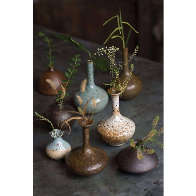 Farmhouse Brown & White Glazed Porcelain Bud Vase For Sale - Image 3 of 4