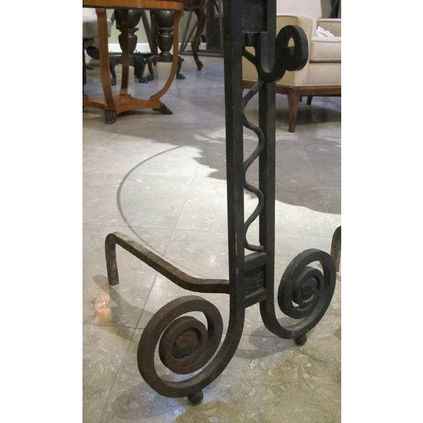 A Large-Scaled Pair of French Art Deco Hand-Wrought Iron Andirons For Sale - Image 4 of 5