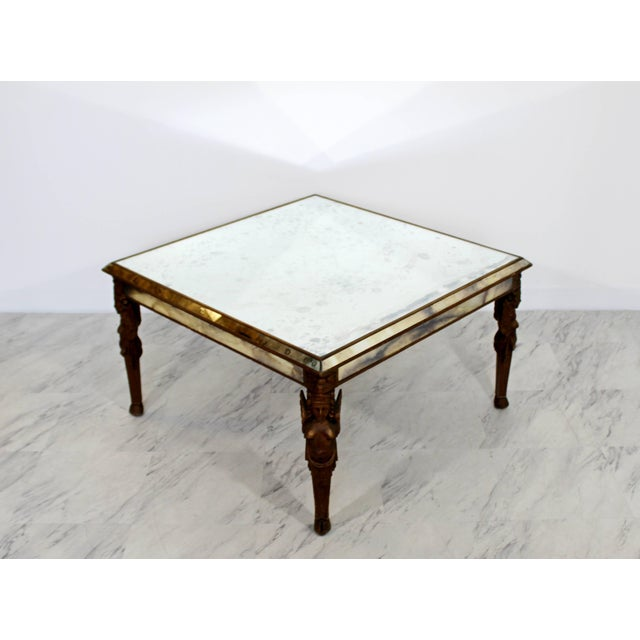 For your consideration is an intricately carved Art Deco wooden coffee table, with carved angels on the legs. Antique...