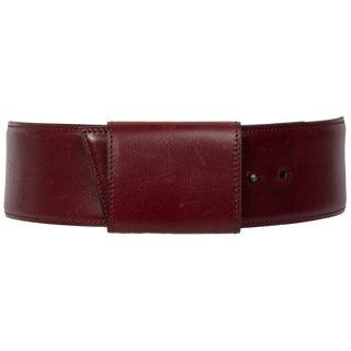 Vintage Alaïa Burgundy Leather Waist Belt For Sale