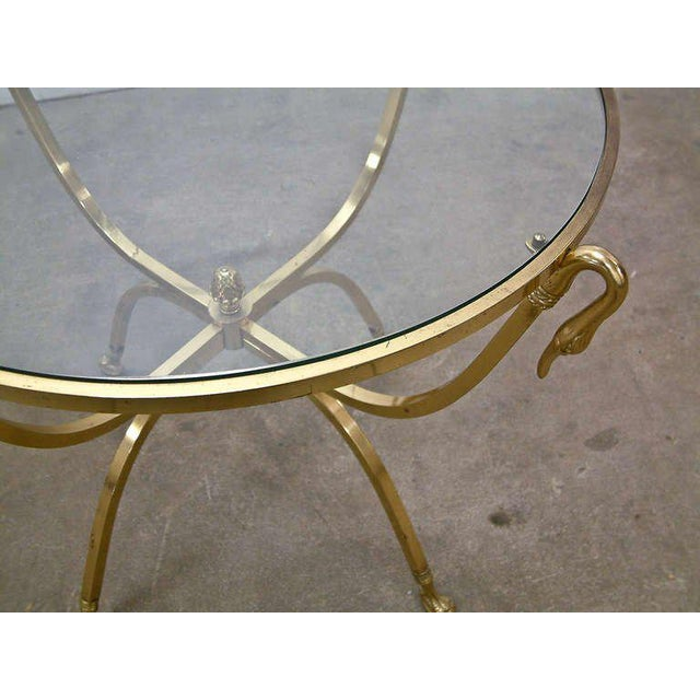 Italian Brass and Glass Swan Motif Table in the Style of Jansen For Sale - Image 5 of 7