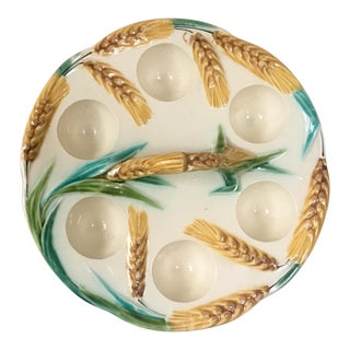 1900s Majolica Wheat Ceramic Egg Handled Plate For Sale