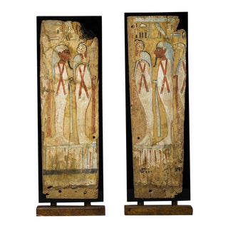 A Pair of Third Intermediate Period Painted Wooden Panels