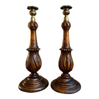 Antique English Carved Tiger Oak Brass Thistle Candlesticks Candle Holders - a Pair For Sale