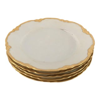 Hutscheneruther French Style Lusterware Pearl White/Gilt Rim Bread Plates - Set of 5 For Sale