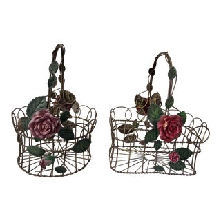 Vintage 1960s Tole Baskets, Pair For Sale