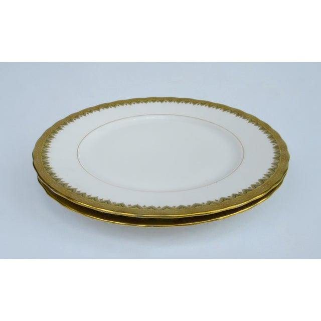 "C1930s French Art Deco Limoges ""Elite Works"" 24k Gilt Gold & Green Rimmed Asst. Dishes & Cups -Set of 11 For Sale - Image 9 of 13"