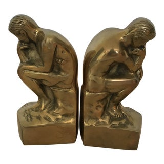 Brass 'The Thinker' Bookends - a Pair For Sale